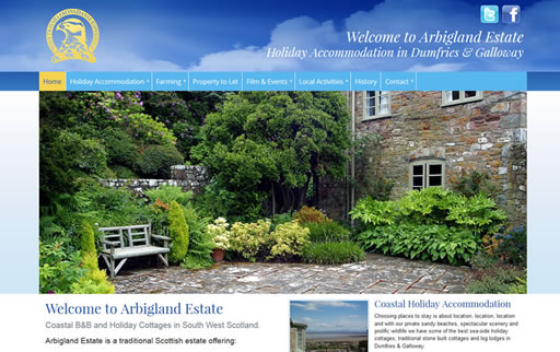 Responsive web design and build for Arbigland Estate