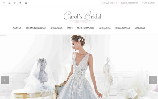 Responsive web design and build for Carols Bridal