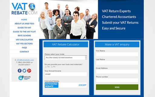Responsive web design and build for VATrebate.com