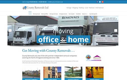 Responsive web design and build for County Removals Limited